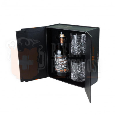 Austrian Empire Navy Rum Solera 18y darčekový set 2 poháre  0,7l 40%
